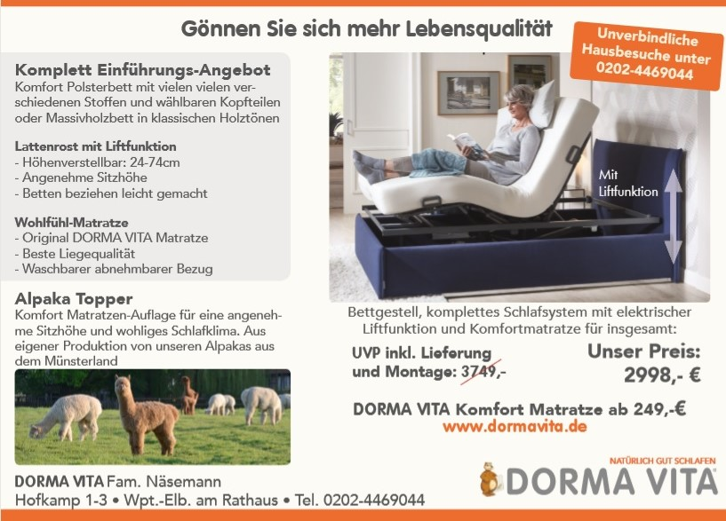 Dorma-Vita-Aktion-Komplett-Angebot